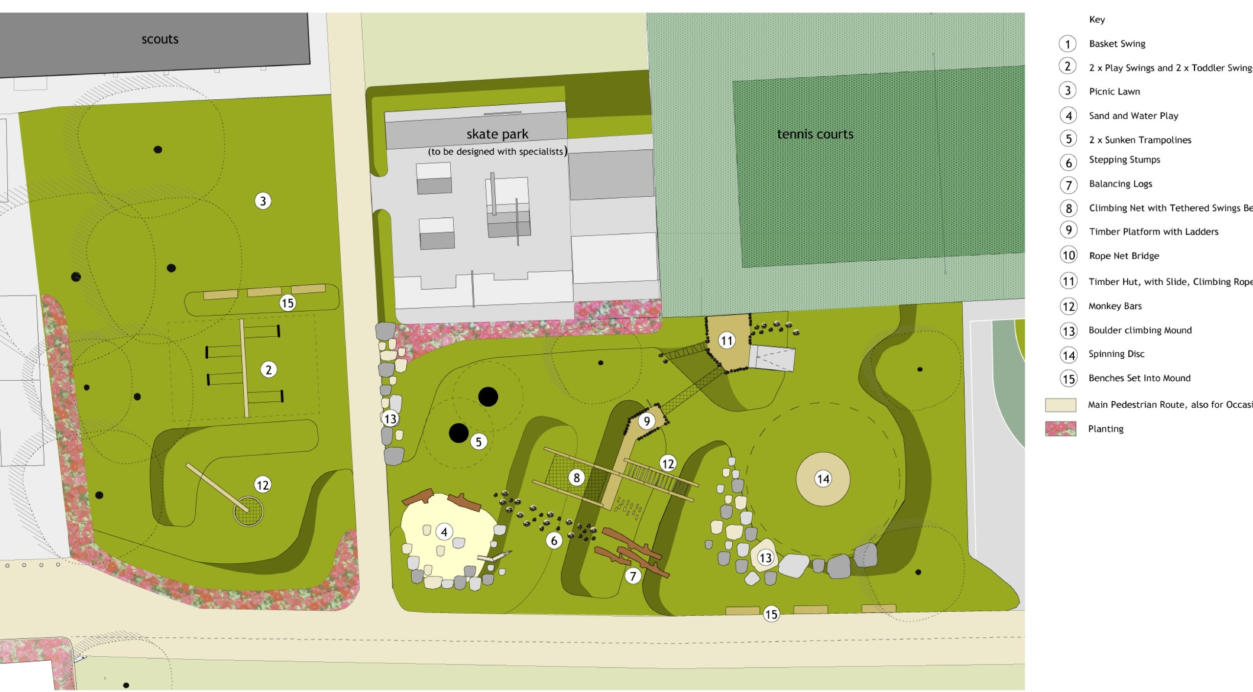 Proposed new playground area plan