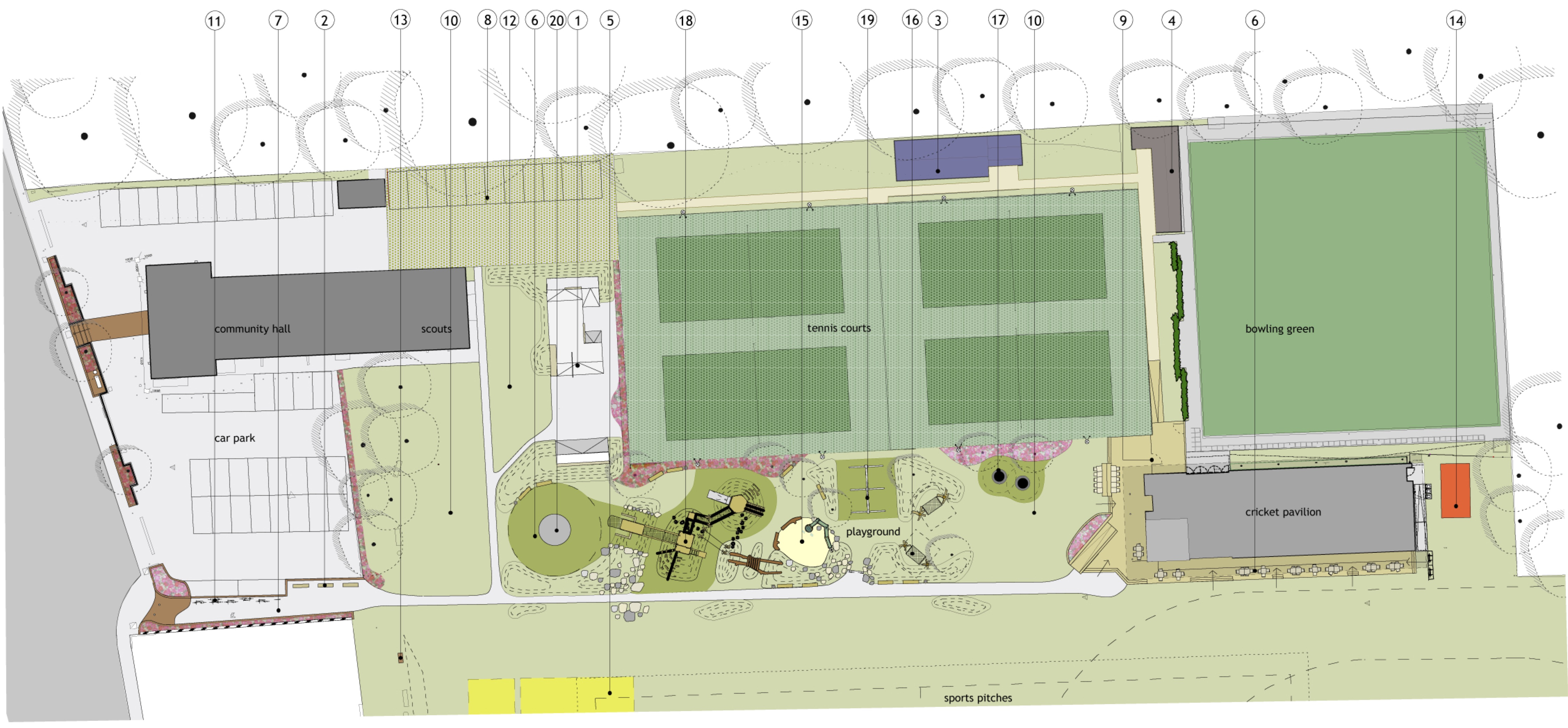 Revised master plan of top area of the rec