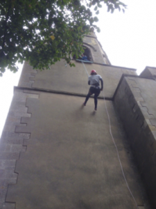 Abseiling down St. Mary's