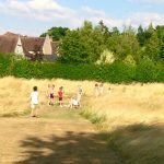 Children in the meadow area